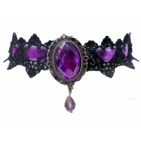 Black velvet purple crystal pendant nacklace