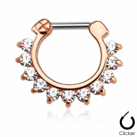 Septum-Clip Ring rosé gold Kristall klar 1,2mm